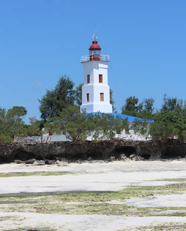 Lighthouses dot the beaches between resorts and seaside restaurants.
