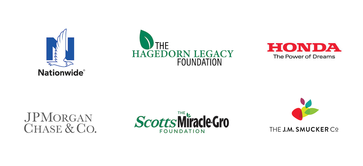 Partners and Sponsors: Nationwide, Hagedorn Legacy foundation, Honda, J.P. Morgan Chase, Scott's MiracleGro, J.M. Smucker