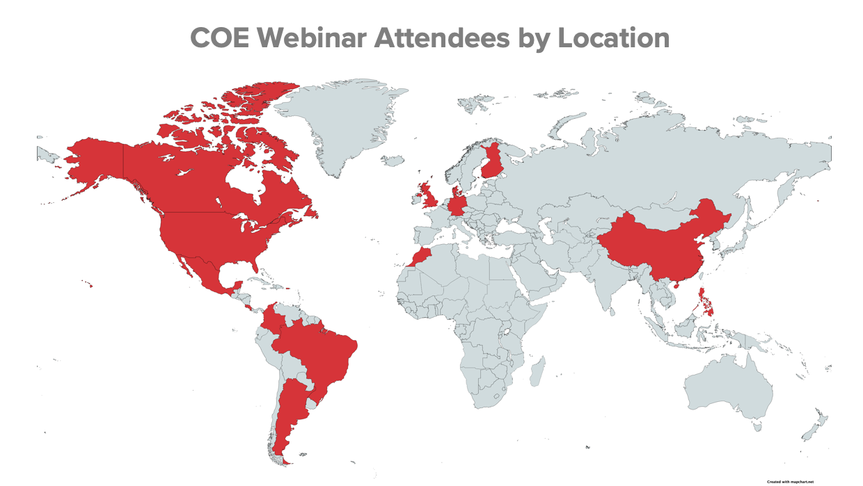 Global map with countries highlighted in red where COE webinar attendees have joined from