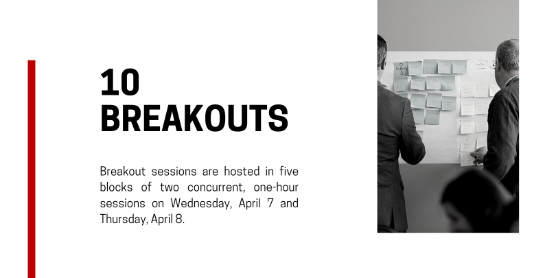 red text on white background that reads: 10 breakouts - Breakout sessions are hosted in five blocks of five concurrent, one-hour sessions on Wednesday, April 8 (three blocks) and Thursday, April 9 (two blocks). Black and white image of men placing posts on wall on right side.
