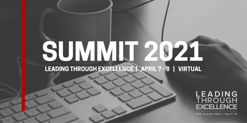 """Black an White Image - Keyboard, Mug, and hand on mouse - with text over lay that reads """"Summit 2021"""""""