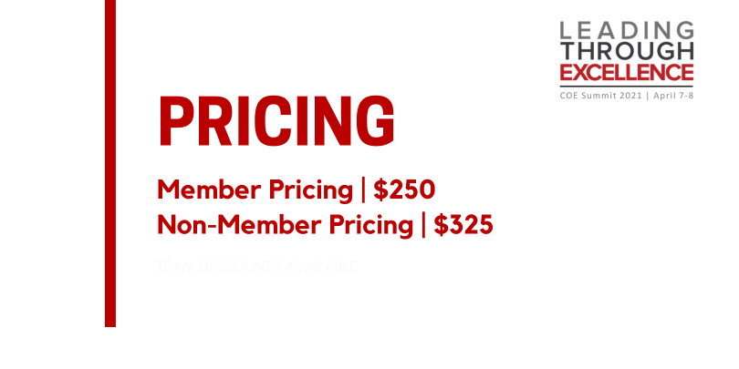 """Red text on white background that reads: """"Pricing, Member pricing $250 and Non-member pricing $325"""""""