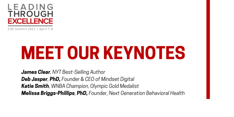 Text on white background: Meet our Keynotes (with name and title, available below)