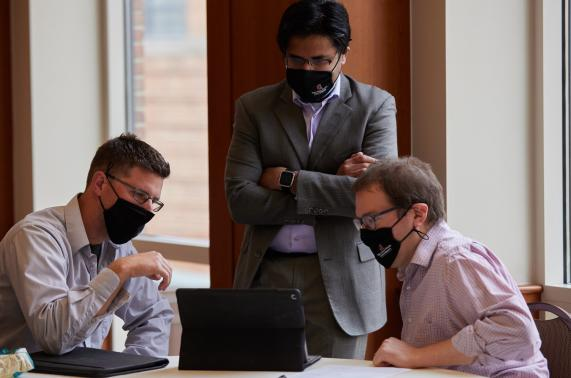 group meeting with masks