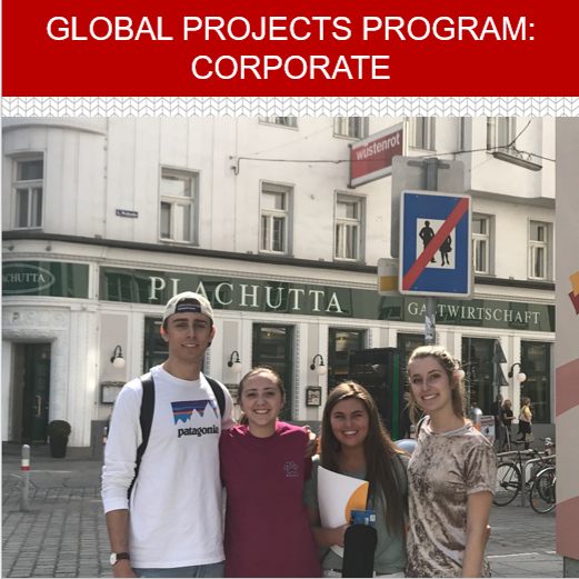 Picture of students in a global coporate location.