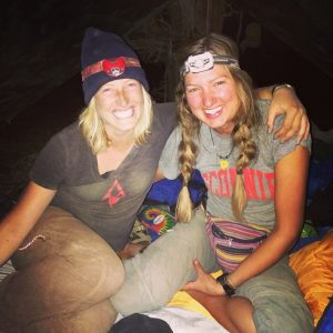 """Me and my best friend Taylor when we worked in the field. This was the equivalent """"business casual"""" in the industry."""