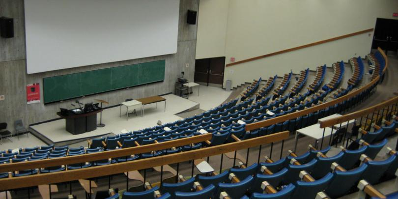 Empty college classroom due to online classes.