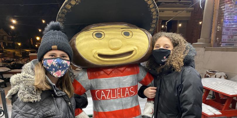Enjoying Cazuela's with Brutus!