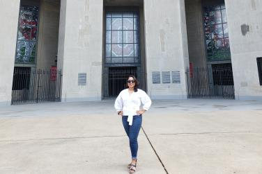 Carmen stands in at the gates of the Shoe.