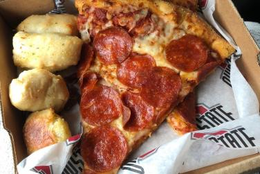 Free pizza lunch provided by company during info session