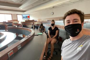 Social distancing and wearing masks in one the few in-person classes I had this semester.