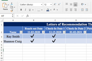 Letter or Recommendation Timeline Example