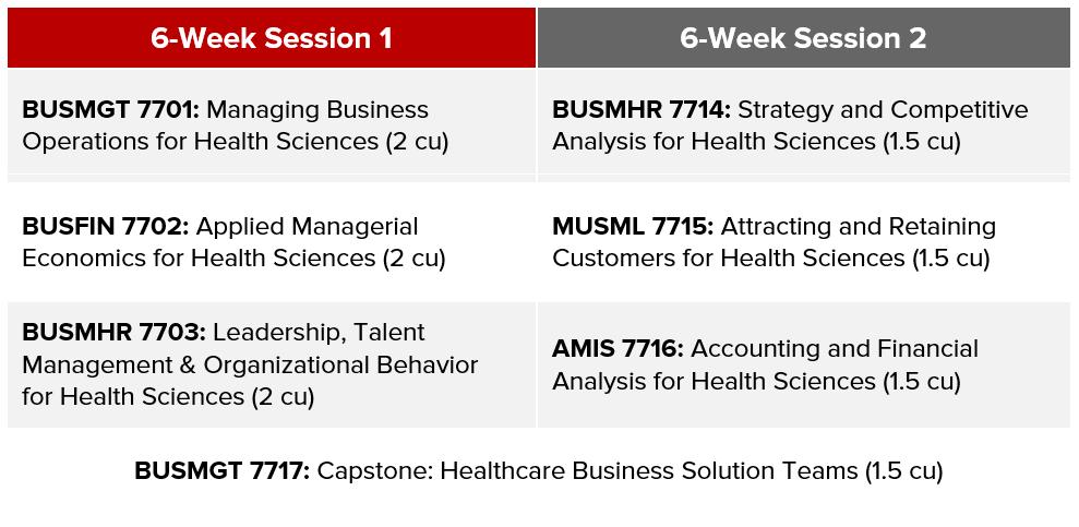 Graduate Business Minor Schedule