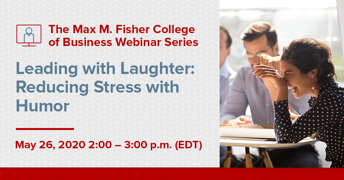 Leading with laughter webinar graphic. May 26, 2020.