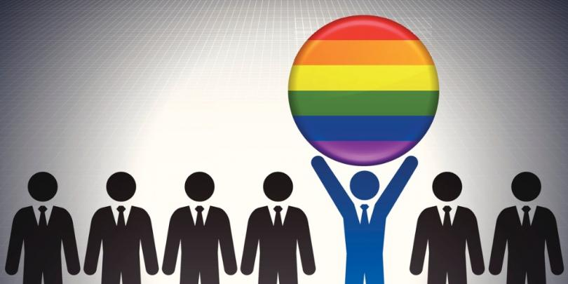 Illustration of man holding up LGBTQ symbol in a line of others