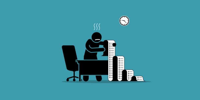 Illustration of someone looking stressed out while looking at a very long list