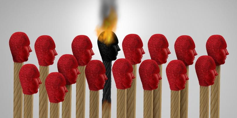 group of matches with one that is burned