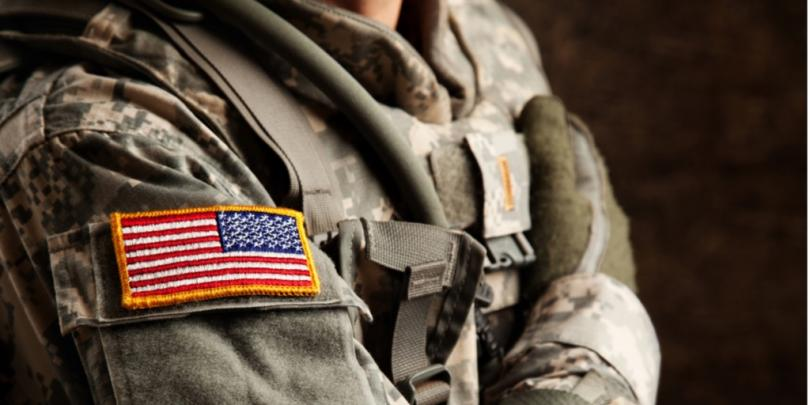 American flag patch on soldier's uniform
