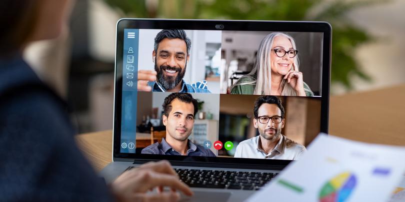 team in an online meeting