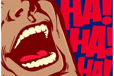 pop art of man laughing