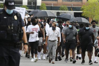 Athletes marching for social justice
