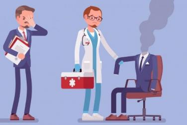 Illustration of man with smoking head and doctor looking at him