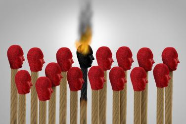 image of matches with one that is burned