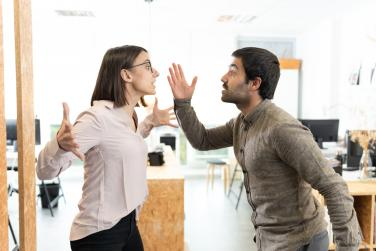 Two people arguing