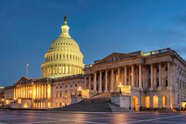 U.S. Capitol building at sunset