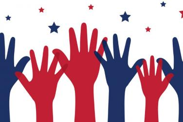 red and blue hands raised