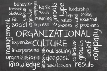 A chalkboard featuring many words like organization, culture, collective, growth, belief ands company