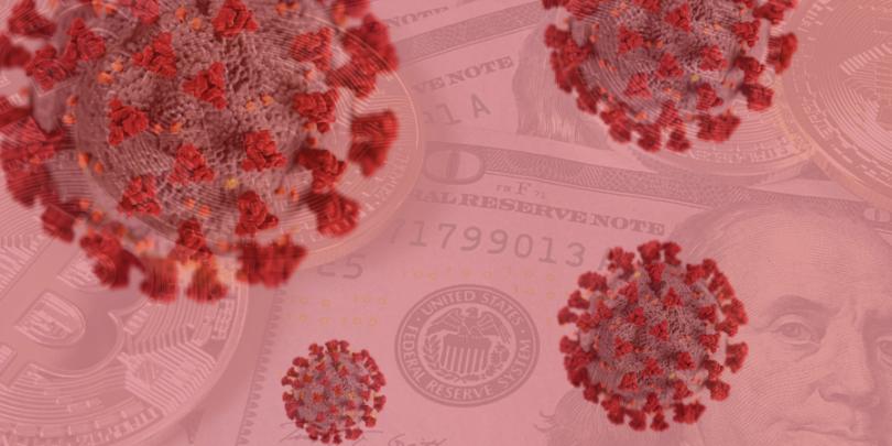 COVID virus overlayed on Money