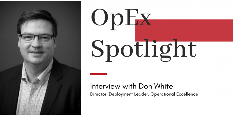 "Headshot of Don White with title ""OpEx Spotlight"" and red block design"