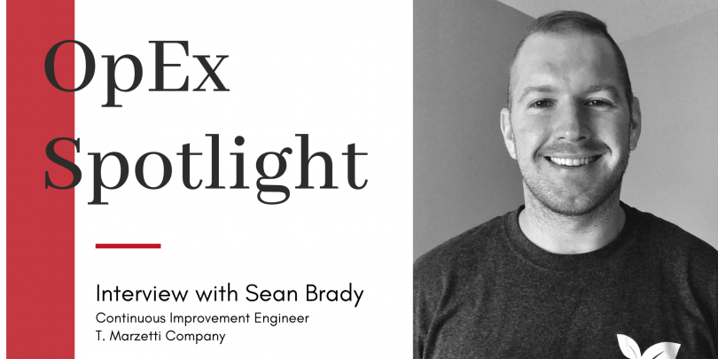 "Headshot of Sean Brady with title ""OpEx Spotlight"" and red block design"