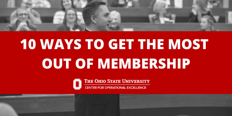 Black and white image of a speaker with the audience behind (from a COE event) with red text box that reads: 10 Ways To Get The Most Out Of Membership