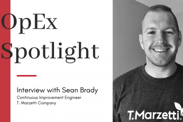 """Headshot of Sean Brady with title """"OpEx Spotlight"""" and red block design"""