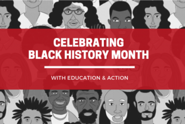 """Black and white image of illustrated Black faces with Red Box overlay and white text that reads """"Celebrating Black History Month With Education & Action"""""""