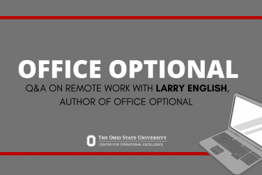 Title (Office Optional: Q&A with Larry English, Author of Office Optional) on gray background with red border, COE logo, and image of a laptop