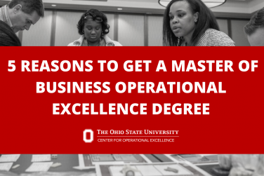 Black and white image of students participating in MBOE program. Text overlay in red box that reads: 5 Reasons To Get A Master of Business Operational Excellence Degree