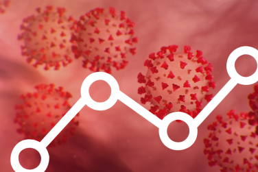 COVID virus with data overlay