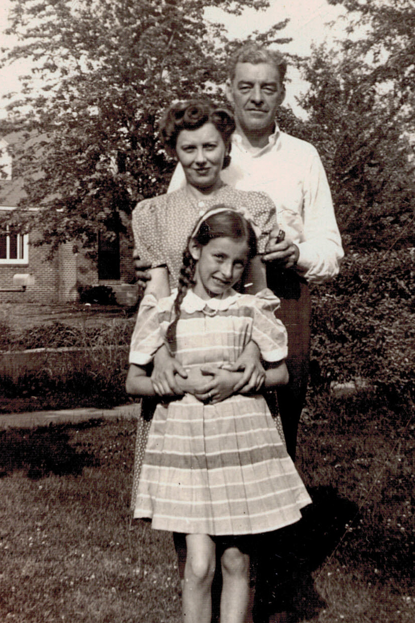 Nine year old Marilyn, with her parents, Helen and Everett