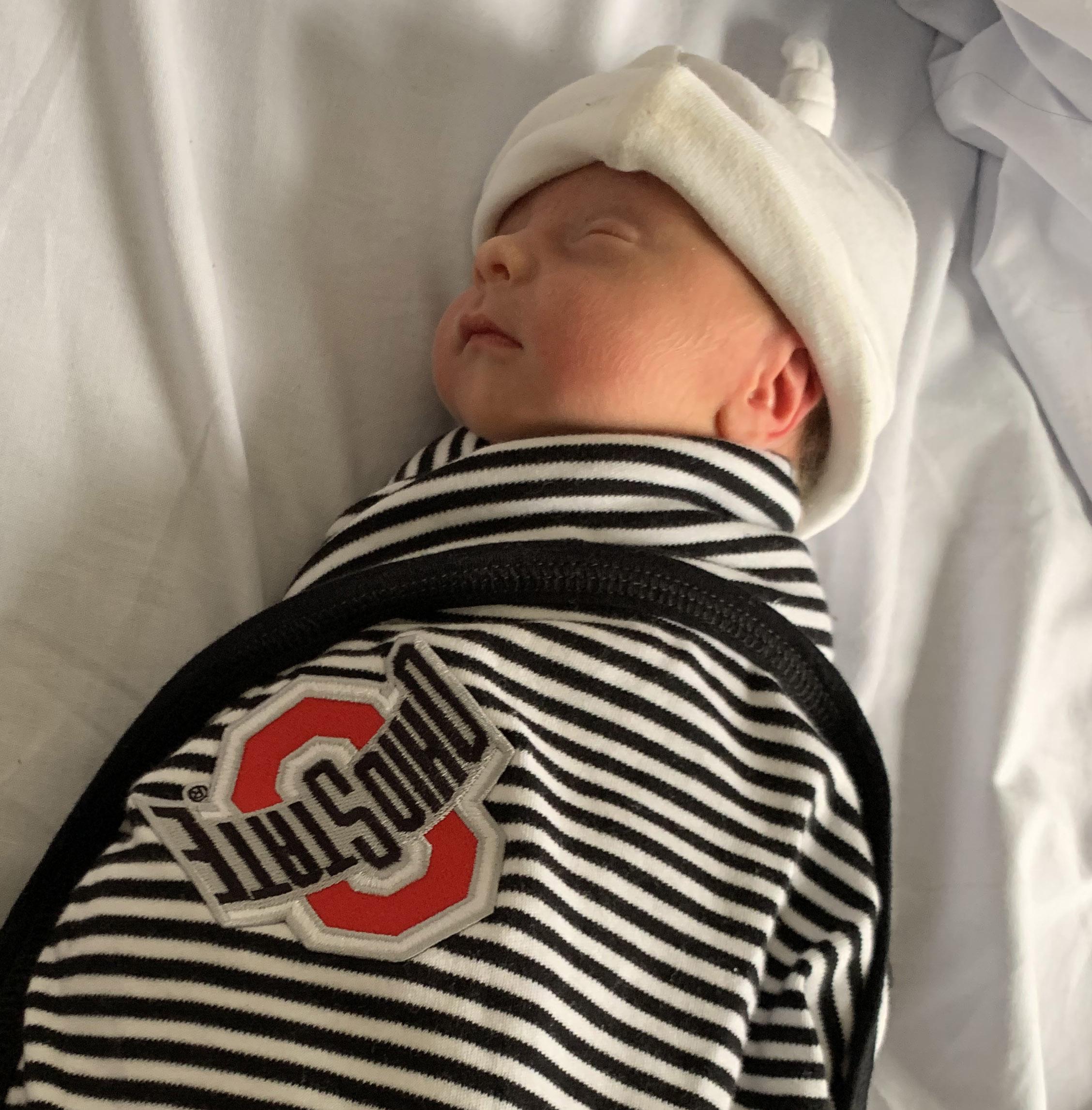 Newborn baby Elias Meyer in an Ohio State blanket