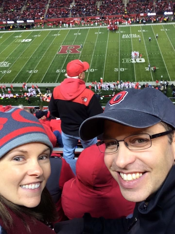 Dawn Lyons and her husband at Ohio State vs. Rutgers football game