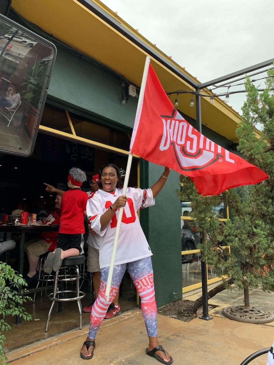 Terina Matthews-Davis showing her Ohio State pride.