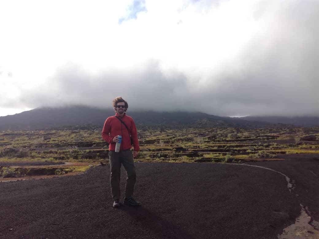 Travis Steinemann on a volcano