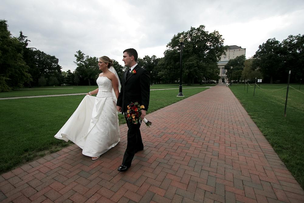 Sarah and Bryan Martin walk the Long Walk on their wedding day