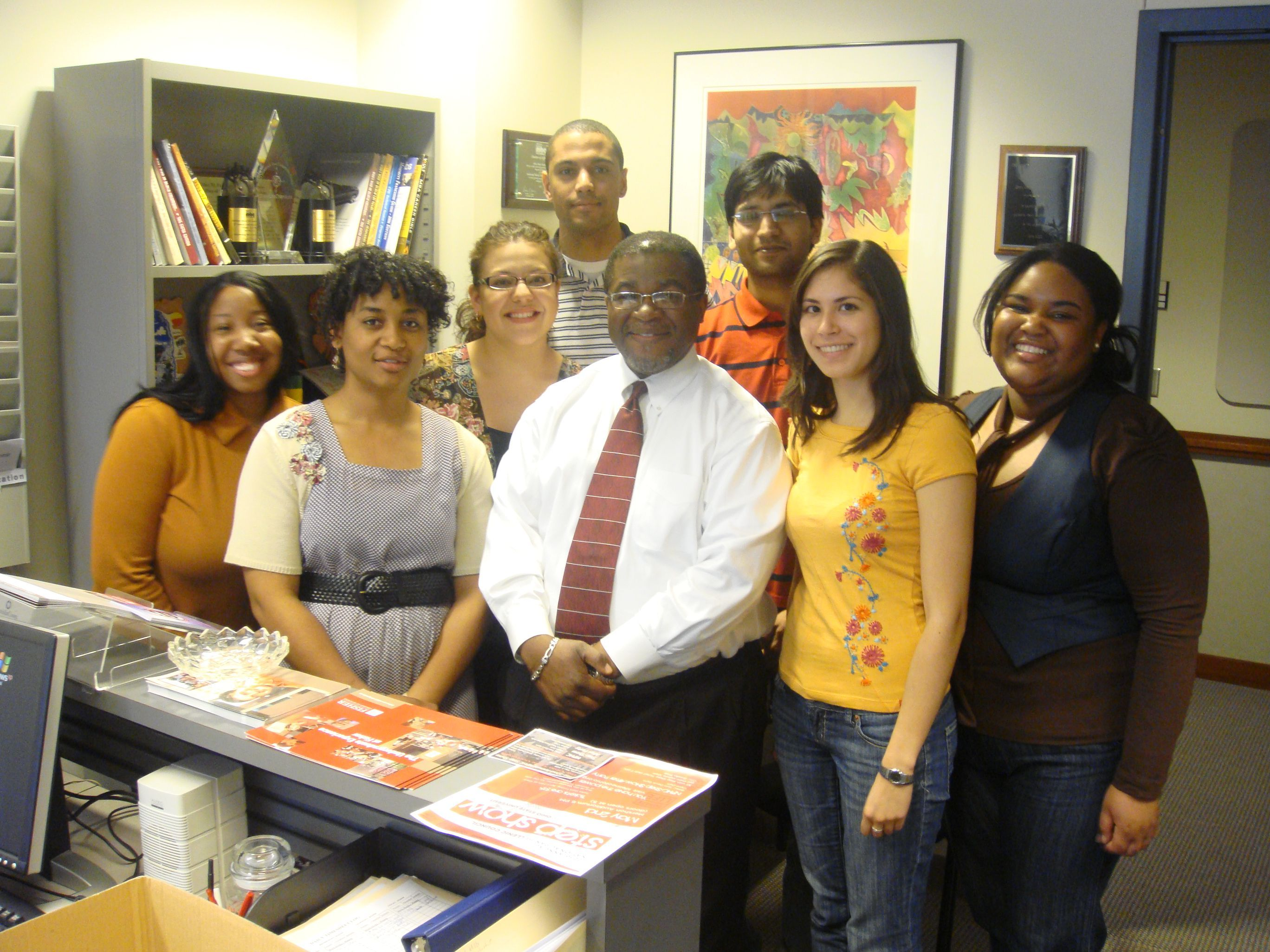David Harrison with Lori Castillo and fellow Fisher students in the Officer of Diversity and Inclusion Student Services and Corporate and Community Outreach.