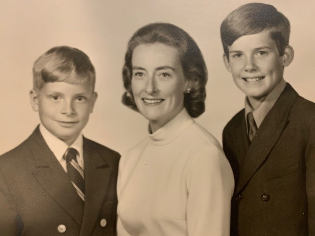 Marilyn Becker with young stepsons, Gil and Scott