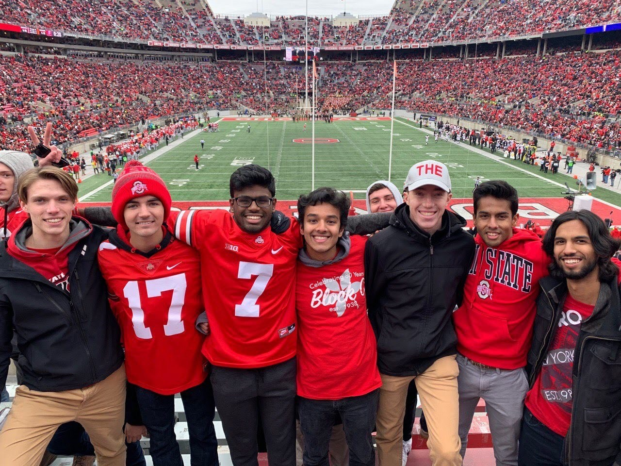 Saarthak with friends at an Ohio State football game