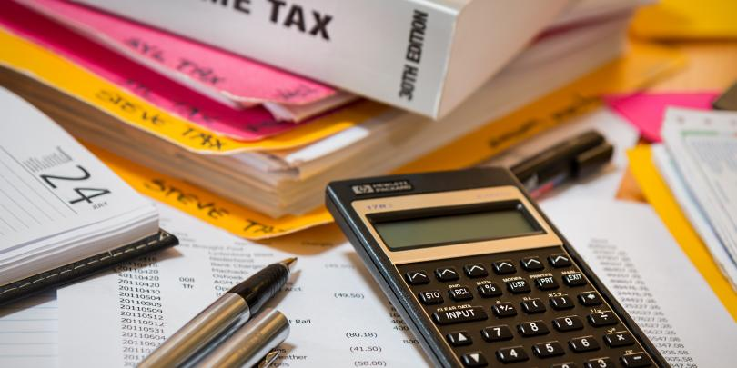 Stock image of a tax calculator